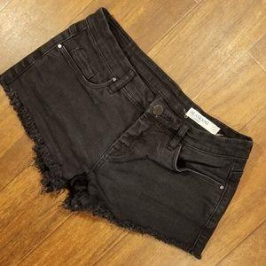 Blank NYC Black Denim Shorts Cut Off Distressed